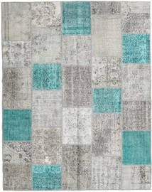 Patchwork Rug 198X251 Authentic  Modern Handknotted Light Grey/Turquoise Blue (Wool, Turkey)