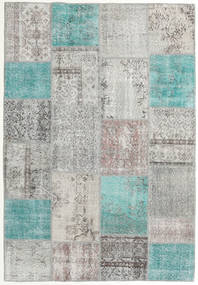 Patchwork Rug 158X230 Authentic  Modern Handknotted Light Grey/Turquoise Blue (Wool, Turkey)