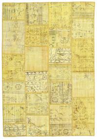 Patchwork Tapete 159X231 Moderno Feito A Mão Amarelo/Verde Azeitona (Lã, Turquia)