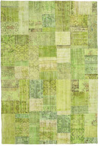 Patchwork Rug 202X301 Authentic  Modern Handknotted Light Green/Olive Green (Wool, Turkey)