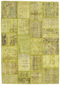 Patchwork Rug 141X201 Authentic  Modern Handknotted Olive Green/Yellow (Wool, Turkey)