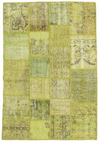 Patchwork Rug 136X203 Authentic  Modern Handknotted Olive Green/Yellow (Wool, Turkey)