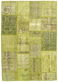 Patchwork Matto 137X196 Moderni Käsinsolmittu Oliivinvihreä/Keltainen (Villa, Turkki)