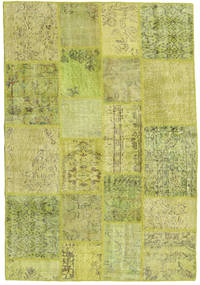 Patchwork Rug 136X201 Authentic  Modern Handknotted Light Green/Yellow/Olive Green (Wool, Turkey)