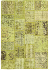 Patchwork Rug 139X204 Authentic  Modern Handknotted Olive Green/Yellow (Wool, Turkey)
