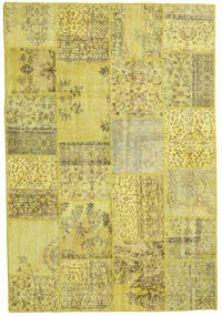 Patchwork Matto 158X233 Moderni Käsinsolmittu Keltainen/Oliivinvihreä (Villa, Turkki)