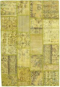 Patchwork Teppich  139X202 Echter Moderner Handgeknüpfter Gelb/Olivgrün (Wolle, Türkei)