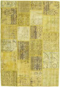 Patchwork Teppe 138X202 Ekte Moderne Håndknyttet Gul/Olivengrønn (Ull, Tyrkia)