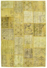 Patchwork Teppich  138X204 Echter Moderner Handgeknüpfter Gelb/Olivgrün (Wolle, Türkei)