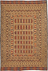 Kelim Golbarjasta Tæppe 125X187 Ægte Orientalsk Håndvævet Mørkebrun/Mørk Beige/Lysebrun (Uld, Afghanistan)