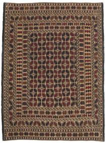 Kelim Golbarjasta Matta 134X185 Äkta Orientalisk Handvävd Mörkbrun/Ljusbrun (Ull, Afghanistan)