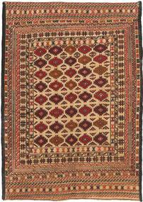 Kilim Golbarjasta Rug 4′3″x6′2″ Authentic  Oriental Handwoven Light Brown/Dark Brown (Wool, Afghanistan)