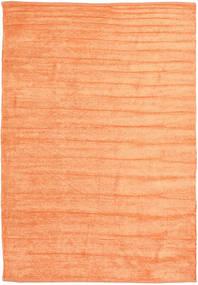 Kelim Chenille - Fersken_Oransje Teppe 160X230 Ekte Orientalsk Håndvevd Orange/Mørk Beige ( India)