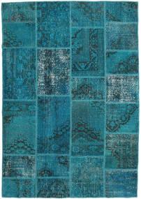Patchwork Rug 159X231 Authentic  Modern Handknotted Dark Turquoise  /Blue (Wool, Turkey)