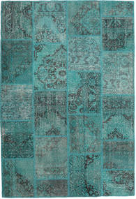 Patchwork Rug 157X232 Authentic  Modern Handknotted Turquoise Blue/Dark Turquoise   (Wool, Turkey)