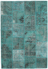 Patchwork Rug 160X233 Authentic  Modern Handknotted Turquoise Blue/Turquoise Blue (Wool, Turkey)