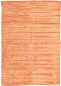 Kelim Chenille - Fersken_Oransje Teppe 140X200 Ekte Orientalsk Håndvevd Mørk Beige/Orange ( India)