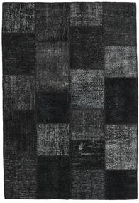 Patchwork Tæppe 158X232 Ægte Moderne Håndknyttet Sort/Mørkeblå (Uld, Tyrkiet)