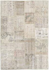 Patchwork Matto 138X201 Moderni Käsinsolmittu Vaaleanharmaa/Vaaleanruskea/Tummanbeige (Villa, Turkki)