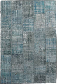 Patchwork Rug 200X300 Authentic  Modern Handknotted Light Grey/Dark Grey/Blue (Wool, Turkey)