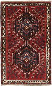 Shiraz Teppich 72X118 Echter Orientalischer Handgeknüpfter Dunkelrot/Schwartz (Wolle, Persien/Iran)