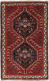 Shiraz Rug 72X118 Authentic Oriental Handknotted Dark Red/Black (Wool, Persia/Iran)