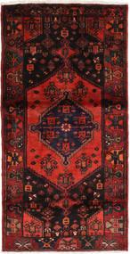 Hamadan Matto 107X210 Itämainen Käsinsolmittu Musta/Tummanpunainen (Villa, Persia/Iran)
