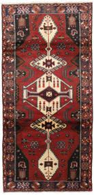 Hamadan Rug 98X205 Authentic  Oriental Handknotted Dark Red/Black (Wool, Persia/Iran)