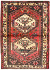 Hamadan Rug 104X148 Authentic  Oriental Handknotted Dark Brown/Dark Red (Wool, Persia/Iran)