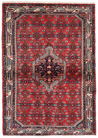 Hamadan Rug 110X157 Authentic  Oriental Handknotted Crimson Red/Dark Green (Wool, Persia/Iran)