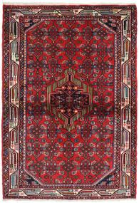 Hamadan Covor 108X158 Orientale Lucrat Manual Roșu-Închis/Maro Închis (Lână, Persia/Iran)