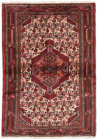 Hamadan Matto 105X150 Itämainen Käsinsolmittu Tummanpunainen/Ruskea (Villa, Persia/Iran)