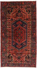 Hamadan Rug 126X225 Authentic  Oriental Handknotted Black/Rust Red/Dark Red (Wool, Persia/Iran)