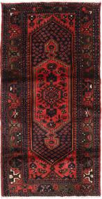 Hamadan Rug 97X194 Authentic  Oriental Handknotted Black/Dark Red (Wool, Persia/Iran)
