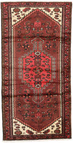 Hamadan Rug 95X187 Authentic  Oriental Handknotted Dark Brown/Brown (Wool, Persia/Iran)
