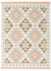 Summer Kilim Rug 210X290 Authentic  Modern Handwoven Beige/Dark Beige (Wool, India)