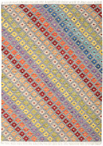 Spring Kilim Rug 210X290 Authentic  Modern Handwoven Light Grey/Dark Beige (Wool, India)