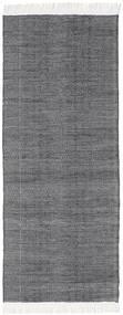 Diamond Wool - Black Rug 80X290 Authentic  Modern Handwoven Hallway Runner  Dark Grey/Light Purple/Light Grey (Wool, India)