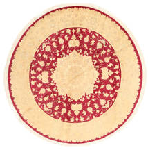 Tabriz Rug Ø 213 Authentic  Oriental Handknotted Round Light Pink/Dark Beige ( India)