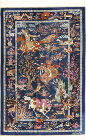 Qum Silk Rug 102X157 Authentic  Oriental Handknotted Dark Blue/Light Brown (Silk, Persia/Iran)