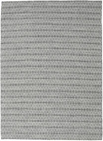 Kilim Long Stitch - Black/Grey Rug 210X290 Authentic  Modern Handwoven Light Grey/Dark Grey (Wool, India)