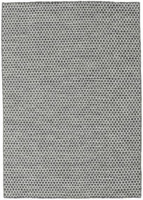 Kilim Honey Comb - Black/Grey Rug 140X200 Authentic  Modern Handwoven Light Grey/Dark Grey (Wool, India)
