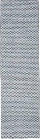 Kelim Honey Comb - Blå Matta 80X290 Äkta Modern Handvävd Hallmatta Ljusgrå/Vit/Cremefärgad/Ljusblå (Ull, Indien)