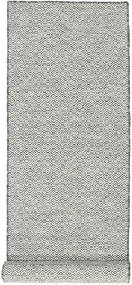 Kilim Goose Eye - Black/Grey Rug 80X340 Authentic  Modern Handwoven Hallway Runner  Beige/Dark Grey/Light Grey (Wool, India)