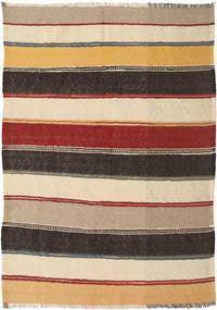Kelim Matta 145X198 Äkta Orientalisk Handvävd Ljusbrun/Mörkgrå (Ull, Persien/Iran)