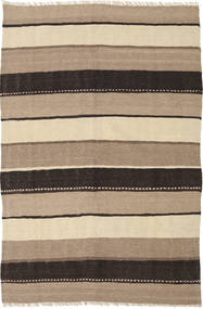 Kelim Tæppe 130X192 Ægte Orientalsk Håndvævet Lysebrun/Mørkegrå (Uld, Persien/Iran)