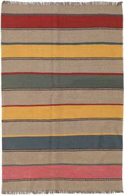 Kelim Teppe 128X197 Ekte Orientalsk Håndvevd Lysbrun/Mørk Grå (Ull, Persia/Iran)