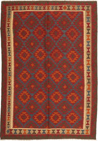 Kelim Maimane Teppe 206X292 Ekte Orientalsk Håndvevd Mørk Rød/Lysbrun (Ull, Afghanistan)