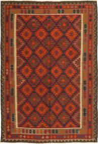 Kelim Maimane Matta 198X295 Äkta Orientalisk Handvävd Mörkröd/Roströd (Ull, Afghanistan)