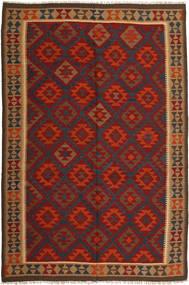 Kelim Maimane Matto 198X295 Itämainen Käsinkudottu Tummanruskea/Ruoste (Villa, Afganistan)
